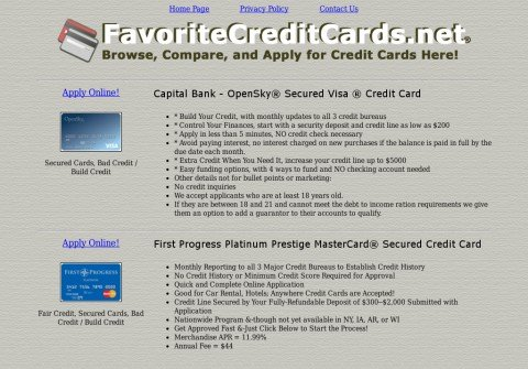favoritecreditcards.net thumbnail